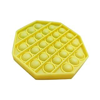 Fishoneion 1PC Push pop pop Bubble Sensory Fidget Toy,Autism Special Needs Stress Reliever Silicone Stress Reliever Toy,Squeeze Sensory Toy (Yellow)