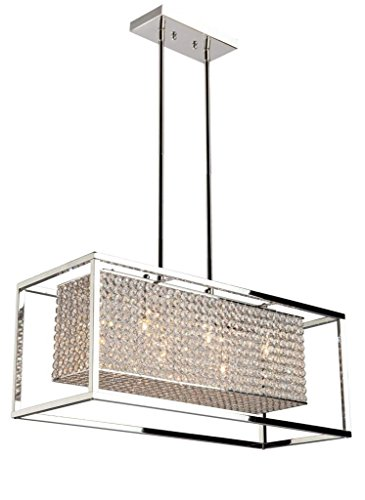 Deluxe Lamp Crystal Pendant Chrome 6 Light Linear Rectangular Chandelier (Linear Crystal Chandelier compare prices)