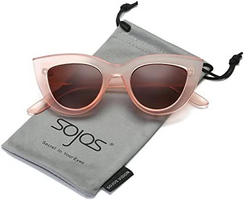 SojoS Retro Cat Eye Women Sunglasses 60's Fashion Thick Frame Mirror Lens SJ2939