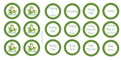 Baby Shower Sweet Pea Baby Charades 12 Pack]()