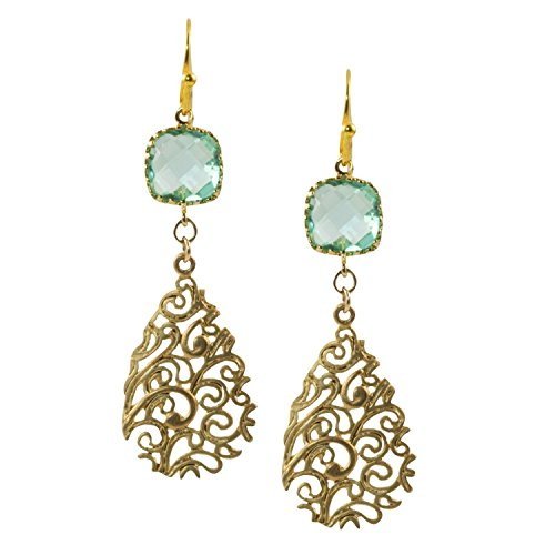 Blue Green Faceted Glass Square With Gold Plated Filigree Drop   Dangle Earrings