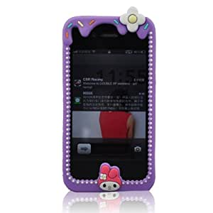 HIGHSTAR Wristband +Adorable Purple Candy and Cream Girl Silicone Case Compatiable for Iphone 4g 4S Cover Case