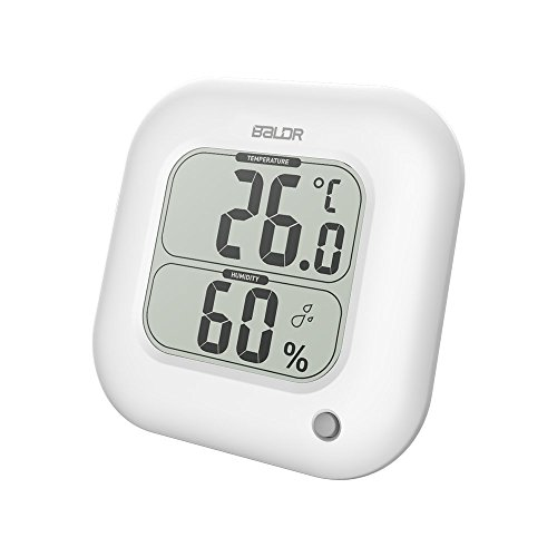 BALDR Digital Square Thermometer Hygrometer Portable Thermo-Hygrometer Hygro-thermometer Monitor Indoor Temperature gauge Humidity Table Standing Wall Hanging Air Conditioner Livi by BALDR