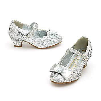 11a150b2fe24 Disney Princess Silver Glitter Party Shoes For Kids