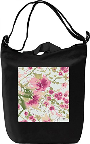 Painted Flowers Print Borsa Giornaliera Canvas Canvas Day Bag| 100% Premium Cotton Canvas| DTG Printing|