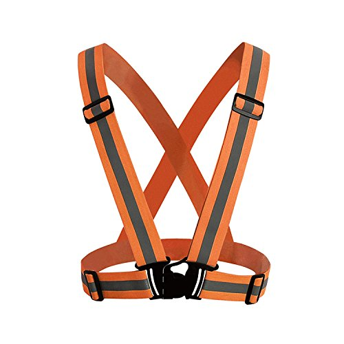 TKOOFN High Visibility Harness Reflective Adjustable Nylon Lightweight Outdoor Vest Belt for Running Horse Riding Motorcycle Walking Cycling (Orange)