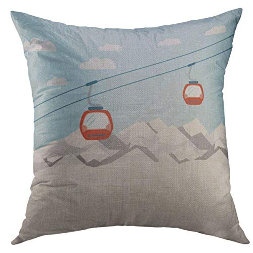 Mugod Decorative Throw Pillow Cover for Couch Sofa,Blue Cable Red Ski Lift Gondolas Moving in Snow Mountains Car Home Decor Pillow case 18x18 Inch ()
