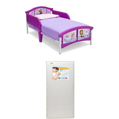 Delta Children Plastic Toddler Bed, Disney Frozen  with Twinkle Stars Crib & Toddler Mattress by Delta Children