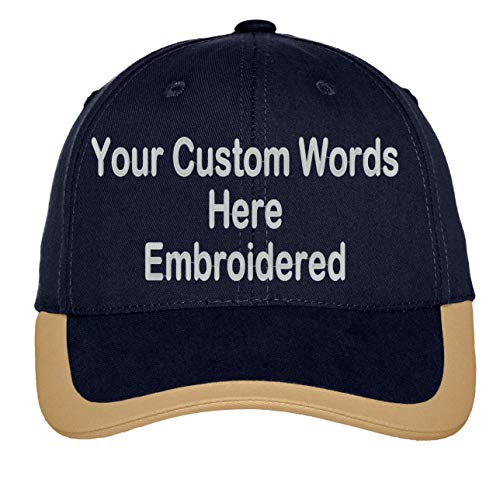 Custom Hat, Embroidered. Your Own Text. Adjustable Back. Curved Bill (Contrast Stripe Sandwich Bill Navy/Khaki)