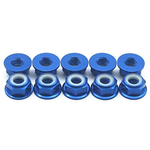 Nut Flanged Lock Aluminum (20 Pcs M3 Nuts Flanged Nylon Lock Nut Nylock Self-Lock Aluminum Nuts (Dark Blue))