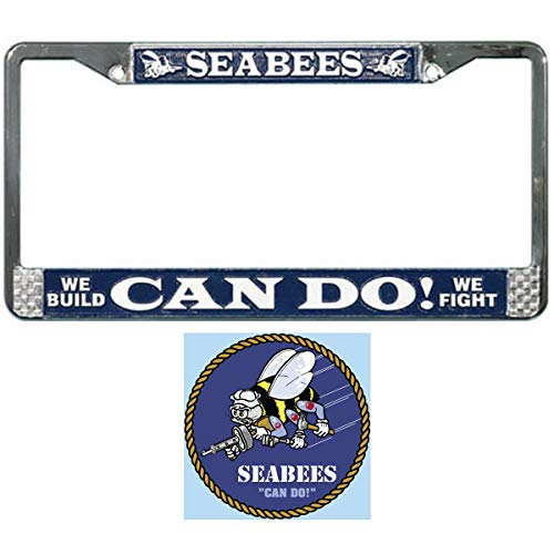 (Butler Online Stores U.S. Navy Seabees License Plate Frame Bundle with Seabee Decal/Sticker)