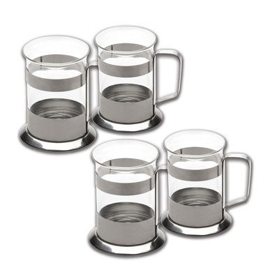 Glass Coffee Cups With Stainless Steel Holder 4 Piece Set