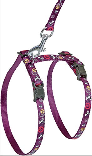 FLAMINGO Art Sports Harness with Leash for Cats Mouse White 10mm