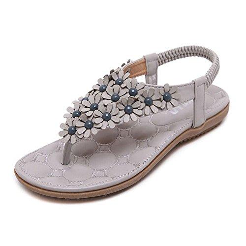 Las Mujeres Bohemia Sandalias Planas Dulces Floral Abalorios Sandalias De Playa Clip Toe Zapatos Gris