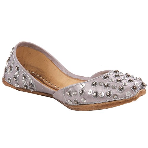 Unze Bonn Kinder Leder Traditionelle Indianer Khussa Pumpen Schuhe - IS221 Silber