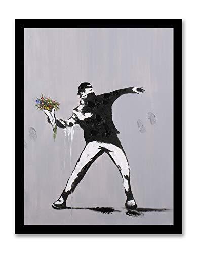 - Modern Pop Art Decor - Framed - Rage Flower Thrower Street Art Canvas Print Home Decor Wall Art, Black Real Wood Frame, 14x18
