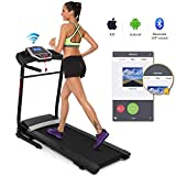 Folding Electric Treadmill Incline with Smartphone APP Control, Power Motorized Fitness Running Machine Walking Treadmill Easy Assembly