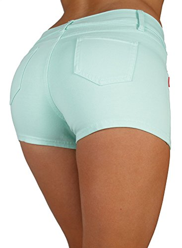 Basic Booty Shorts Premium Stretch French Terry Moleton with a Gentle Butt Lifting Stitching in Mint Size L