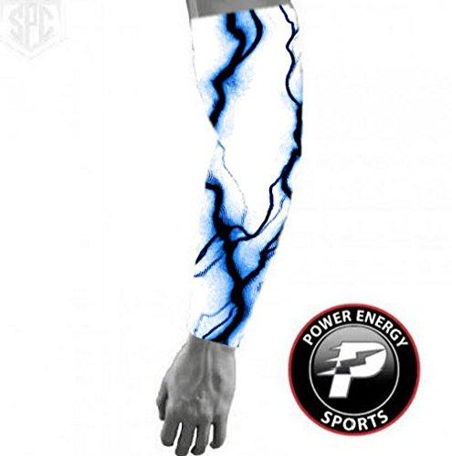 Baseball Sports Compression Arm Sleeve - (Youth Small) Blue Lightning / White Sleeve ()