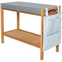 ATBAY 100% Bamboo Shoe Bench Home Storage Rack Extra Length Seat Shelf Organizer Bench with Cushion and Storage Bag, 70cm(27.6in)×28.5cm(11.2in)×45cm(17.7in)