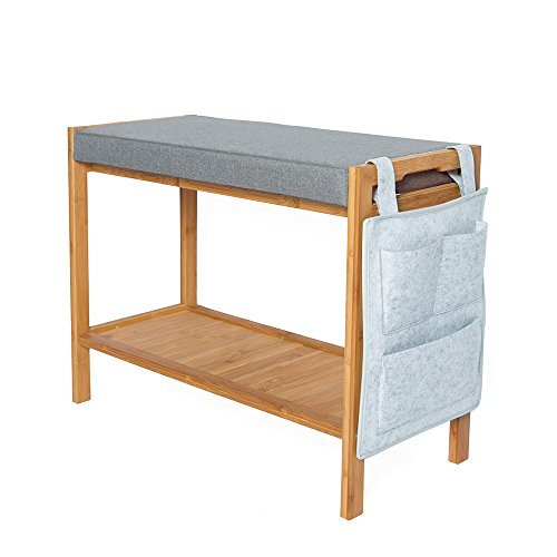 ATBAY 100% Bamboo Shoe Bench Home Storage Rack Extra Length Seat Shelf Organizer Bench with Cushion and Storage Bag, 70cm(27.6in)×28.5cm(11.2in)×45cm(17.7in) (Storage Bench All Natural Wooden)