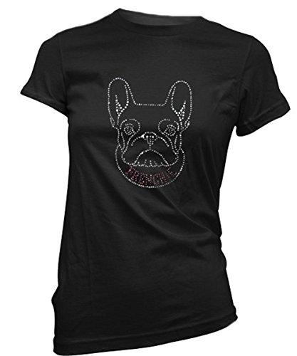 Frenchie Bling Womens' French Bulldog Fitted Tee (Large, Black) Bulldogs Ladies Black Rhinestone