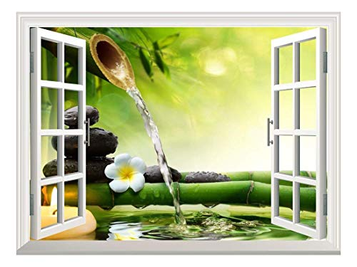Removable Wall Sticker Wall Mural Spa Stones in Garden with Flow Water Creative Window View Wall Decor