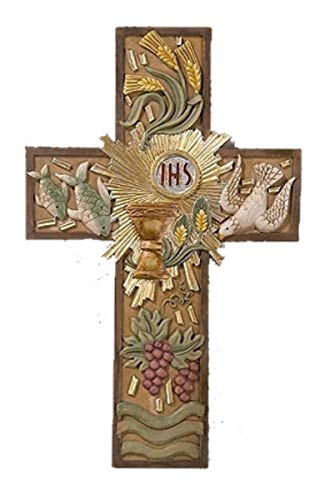 First Communion Resin Hanging Wall Cross Decorations, 8 Inch