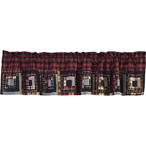VHC Brands Rustic & Lodge Kitchen Window Curtains - Cumberland Red Patchwork Valance, 16x72, Chili Pepper -