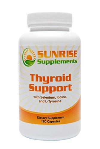 Sunrise suppléments thyroïde soutien - comprimés thyroïde - formalisés pour soutenir la fonction thyroïde - comprend sélénium, iode, L-Tyrosine et vitamine B12 - comte 120