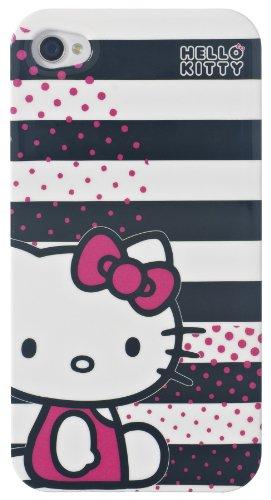 Hello Kitty HKIP4ST Hard Case für Apple iPhone 4/4S schwarz/weiße Streifen