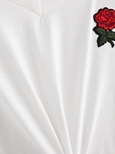 Pullover Donna T Abcone Bianco Camicie Casual Felpa Elegante Maniche Autunno Print Camicette Lunghe Tops Rose shirt g5ffdRqx
