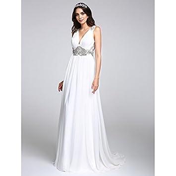 kekafu Una línea V-cuello barrer / cepillo tren Chiffon vestido de boda con Crystal