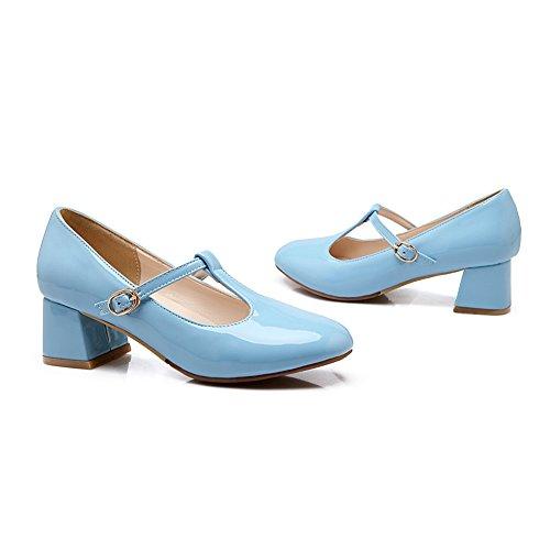 Scarpe Lucksender Mary Jane Tacco Medio In Vernice Pelle Scamosciata Blu
