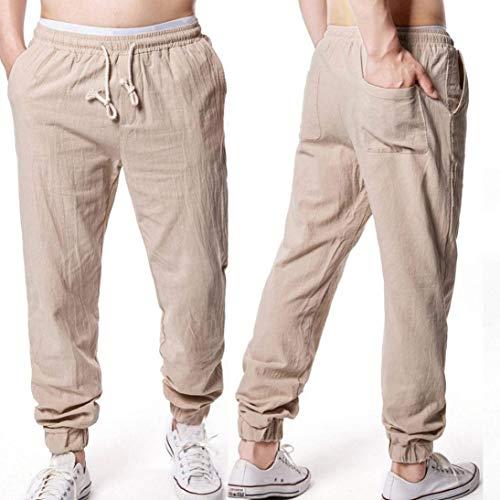 Pantaloni Elasticizzato Allentato Uomo Con Khaki Stile In Lino Estivi Morbido Coulisse Semplice Tasche Laterali 414wxarqp