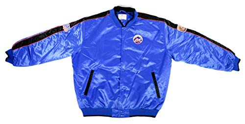 MLB New Your Mets 2-Time World Series Satin Mid-Weight Jacket - 1969-1986 (Large) -