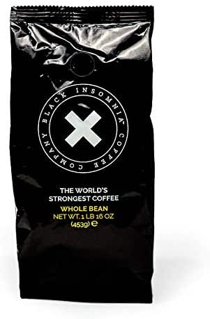 Black Insomnia Bean Coffee - The World's Strongest Coffee - High Caffeine, Smooth Roast, Delicious Flavor - 1lb Bag