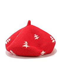 Joylife Christmas Tree Pattern Wool Beret Hat Soft Knitted French Artist Hats Novelty Winter Warm Caps