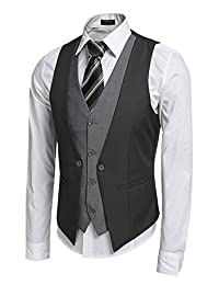 COOFANDY Men's 4 Button Casual Business Suit Dress Vest for Jacket Shirt Blazer