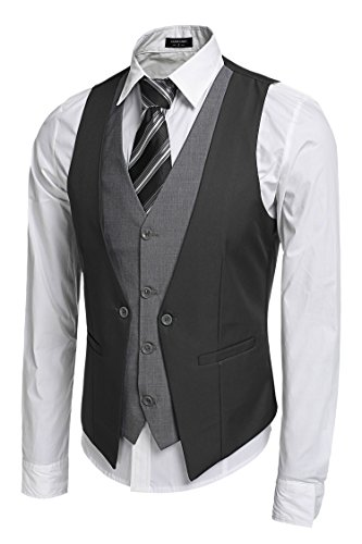Zeagoo Coofandy Men's V-Neck Sleeveless Slim Fit Jacket Business Suit -