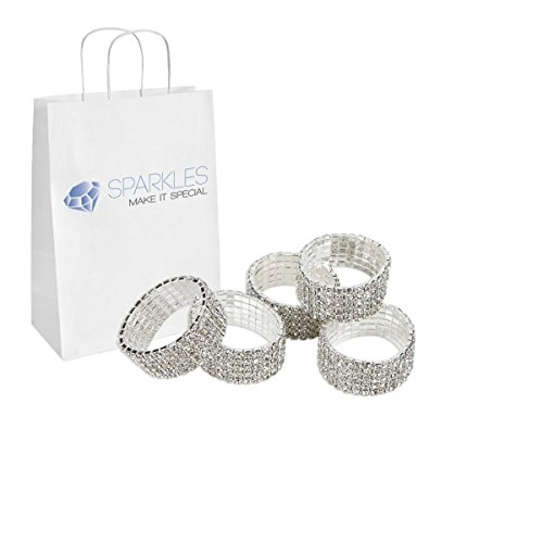 Crystal Deco Ring (Sparkles Make It Special 10-pcs Premium Crystal Real SS16 Rhinestone Napkin Rings Diamond Silver)
