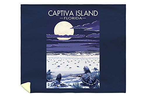 Lantern Press Captiva Island, Florida - Sea Turtles Hatching 46694 (88x104 King Microfiber Duvet Cover)