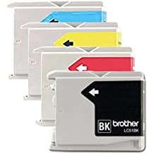 Genuine Brother LC51 (LC-51) Color (Bk/C/M/Y) Ink Cartridge 4-pack (LC51BK, LC51C, LC51M, LC51Y) for Brother DCP-130C, DCP-330C, DCP-350C, IntelliFax-1360, IntelliFax-1860C, IntelliFax-1960C, IntelliFax-2480C, IntelliFax-2580C, MFC-230C, MFC-240C, MFC-3360C, MFC-440CN, MFC-465CN, MFC-5460CN, MFC-5860CN, MFC-665CW, MFC-685CW, MFC-845CW, MFC-885CW