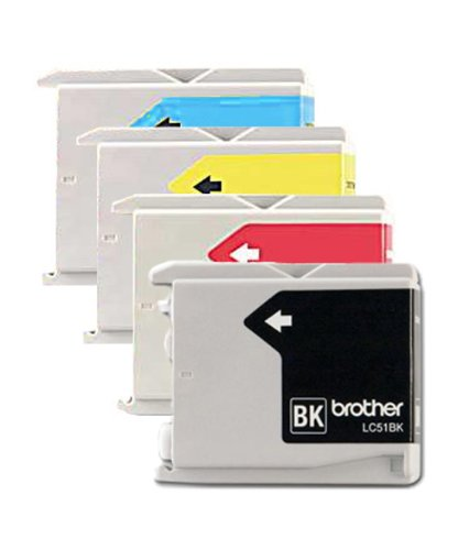 Genuine Brother LC51 (LC-51) Color (Bk/C/M/Y) Ink Cartridge 4-pack (LC51BK, LC51C, LC51M, LC51Y) for Brother DCP-130C, DCP-330C, DCP-350C, IntelliFax-1360, IntelliFax-1860C, IntelliFax-1960C, IntelliFax-2480C, IntelliFax-2580C, MFC-230C, MFC-240C, MFC-336