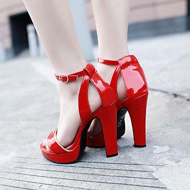 LvYuan Mujer-Tacón Robusto-Zapatos del club-Sandalias-Oficina y Trabajo Vestido Fiesta y Noche-PU-Negro Rojo Bermellón Verde Claro light green