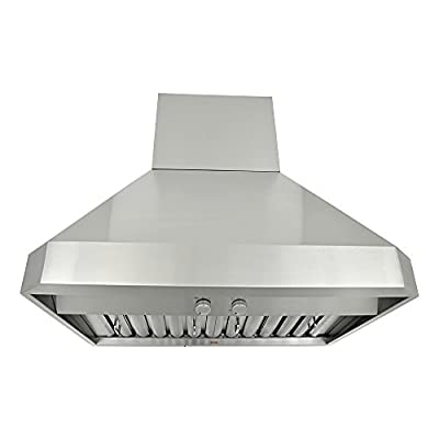 RA0242SQB-DC-5 Premium Wall Mount 3-Speed, 1200 CFM Stainless Steel Range Hood with LED Lights, 42-Inch
