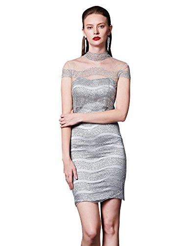 da Emily abito Paillettes trasparente senza mini schienale Beauty Satin cocktail Grigio awSBBH