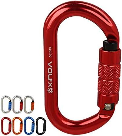 O型オートロックカラビナ屋外25KN quickdraws登山の安全性メインロック,銀,2PCS