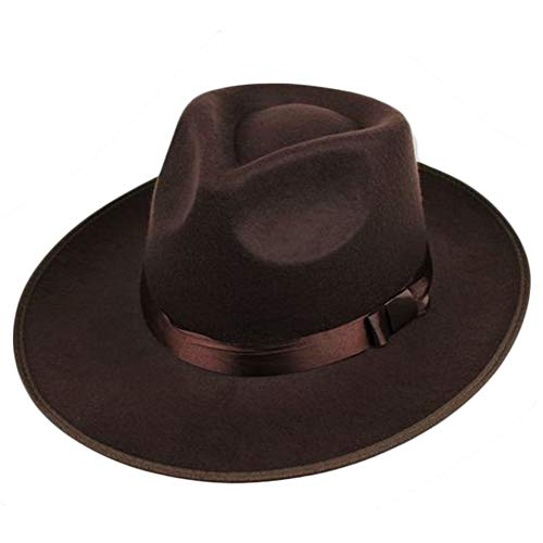 BABEYOND 1920s Gatsby Panama Fedora Hat Cap for Men Gatsby Hat for Men 1920s Mens Gatsby Costume Accessories (Brown)]()