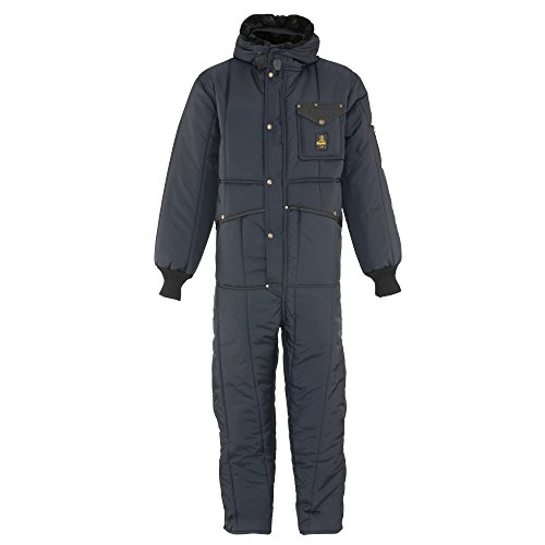 RefrigiWear Men's Iron-Tuff Insulated Coveralls with Hood -50F Extreme Cold Suit (Navy Blue, XL)